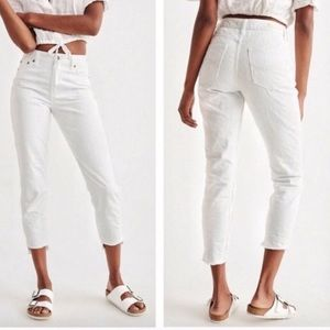 Abercrombie & Fitch Jeans - A&F high rise textured white girlfriend jean